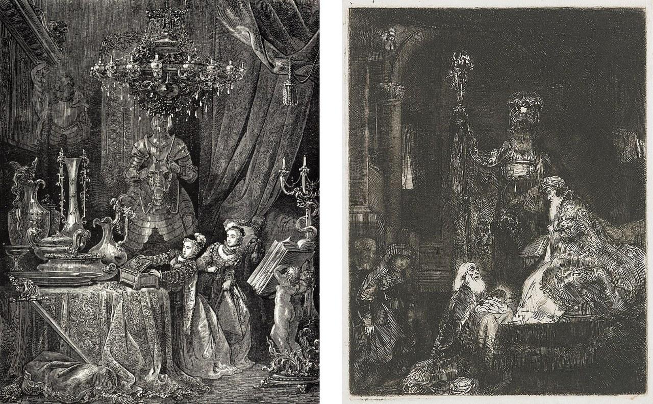 Fig. 4 A sinistra: Gustave Doré, La sposa e i suoi amici visitano il castello, 1862 (Wikimedia Commons). A destra: Rembrandt va Rijn, Presentazione al tempio, 1654, Amsterdam, Rijksmuseum (Wikimedia Commons)