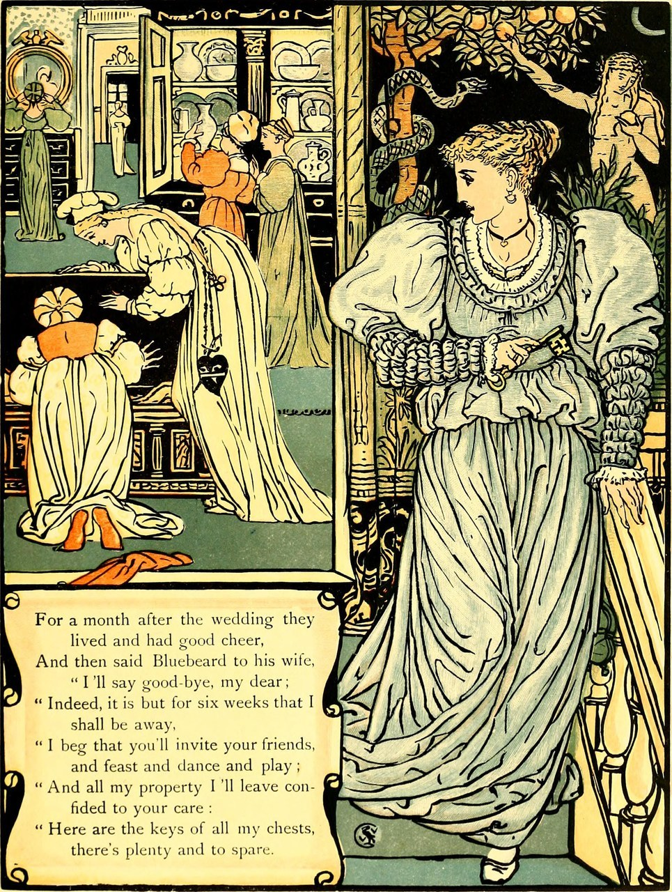 Fig. 5 Walter Crane, La titubanza della giovane sposa, da The sleeping beauty picture book, New York 1911 (Wikimedia Commons)