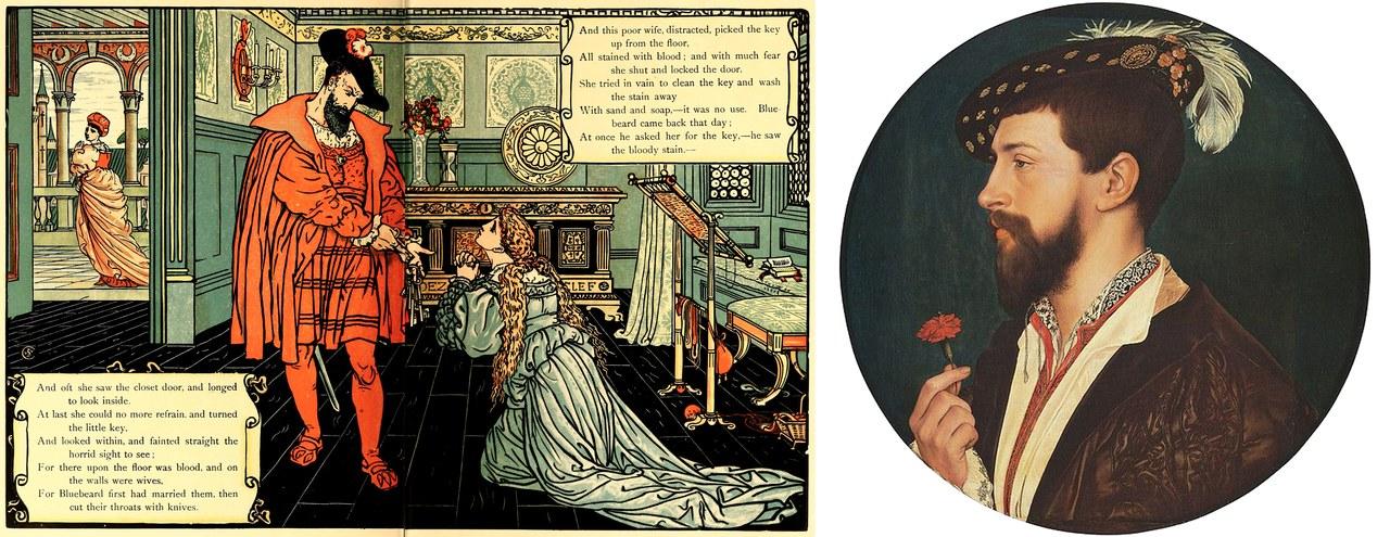 Fig. 6 A sinistra: Walter Crane, La sposa supplica Barbalbù, The sleeping beauty picture book, New York 1911 (Wikimedia Commons). A destra: Hans Holbein, Ritratto di Simon George, 1535 circa, Francoforte, Städelsches Kunstintitut (Wikimedia Commons