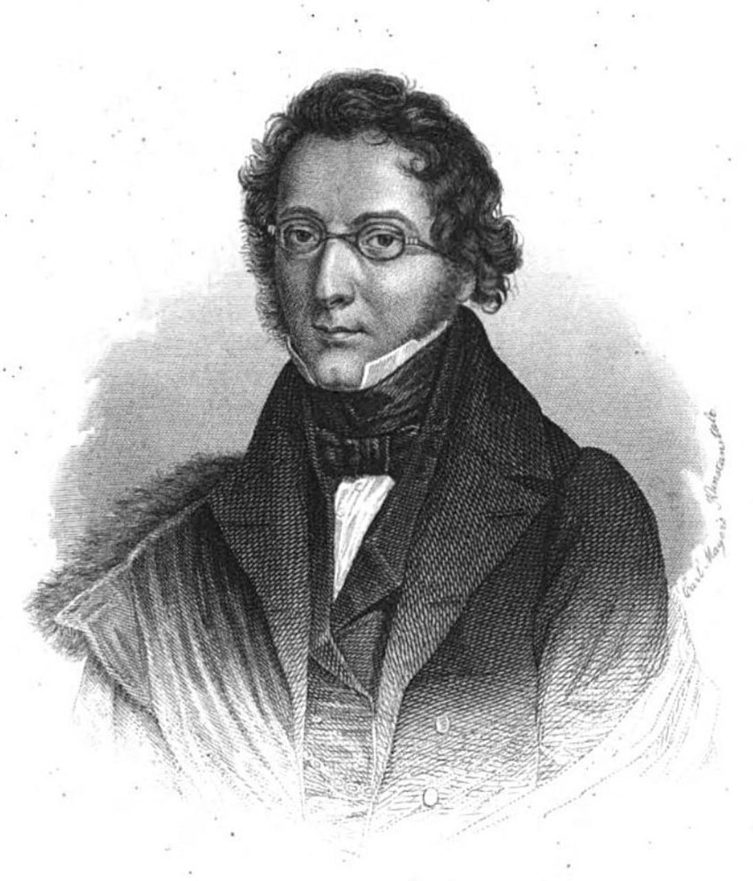 Fig. 4 Ludwig Bechstein, Incisione xilografica. In: Deutscher Musenalmanach, Nürnberg 1852 (Wikimedia Commons). Il suo Märchenbuch (1845) contiene la variante Das Märchen vom Ritter Blaubart.