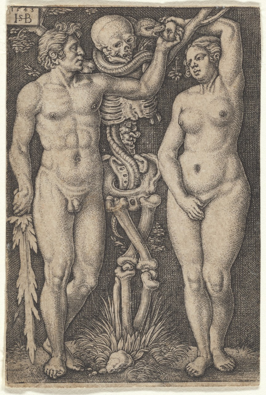 Fig. 5 Adamo ed Eva con uno scheletro / Hans Sebald Beham, 1543 (The New York Public Library, Digital Collections).