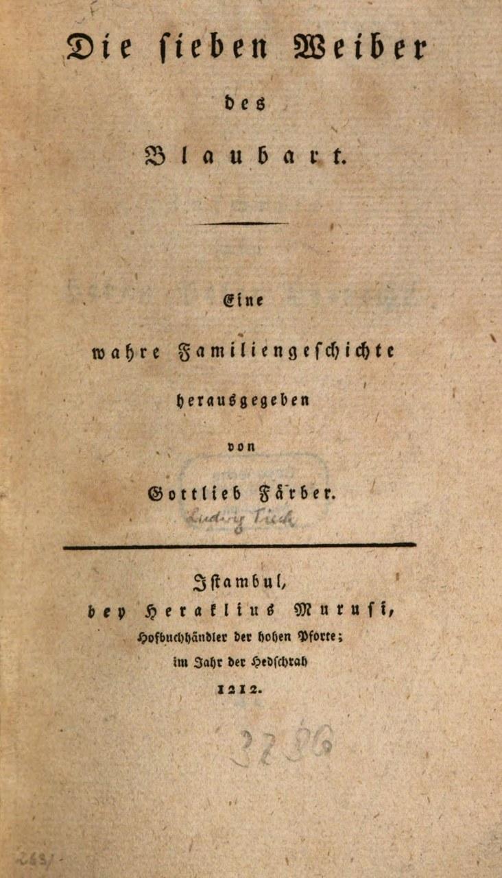 Fig. 7 Frontespizio edizione originale di Die sieben Weiber des Blaubarts di Ludwig Tieck.