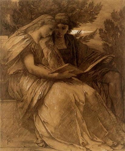 Anselm_Feuerbach, Paolo und Francesca (drawing)