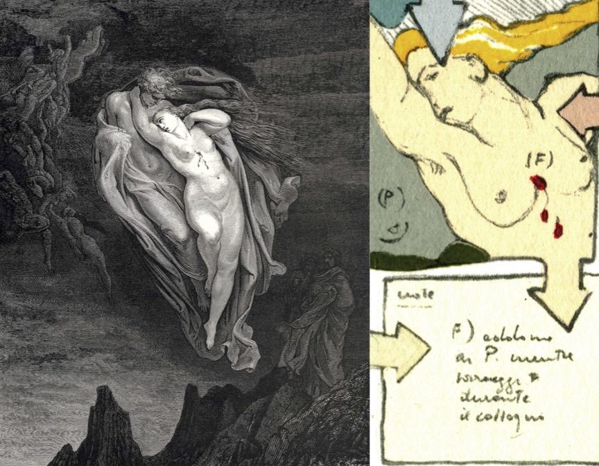 Gianfranco Baruchello, Inferno canto V (versione di Antonio Porta), litoserigrafia, 1991; dettaglio / Gustave Doré, Dante Alighieri, Inferno (canto V, vv. 72-74)