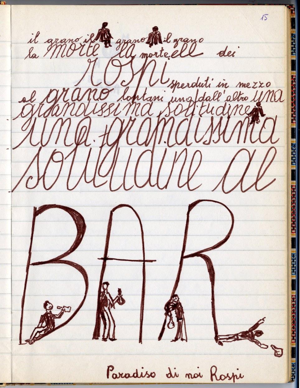 Fig. 3 Dai quaderni di Perla Peragallo, Fondo Leo de Berardinis, Dipartimento delle Arti dell'Alma Mater Studiorum Università di Bologna