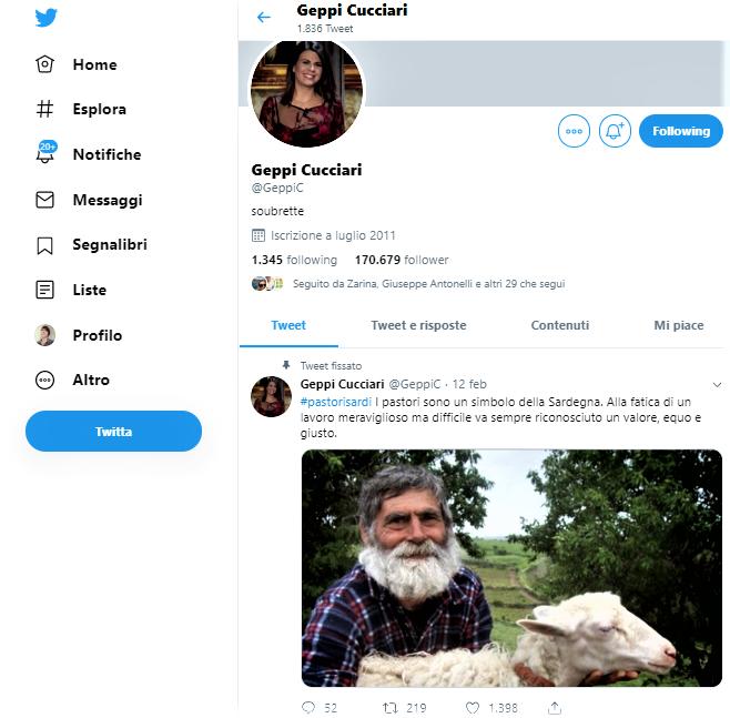Fig. 4 Il profilo Twitter di Geppi Cucciari con il tweet sui pastori sardi