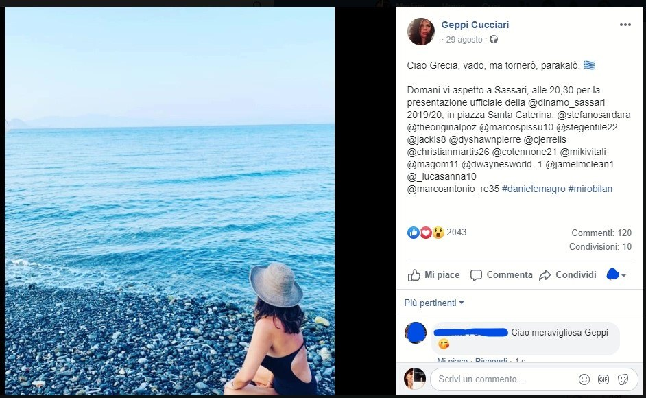 Fig. 6 La foto della fine delle vacanze in Grecia pubblicata su Facebook