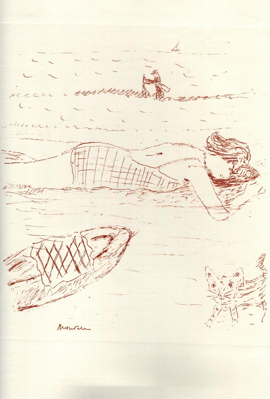 Disegno di Montale tirato in sanguigna nel 1976 a