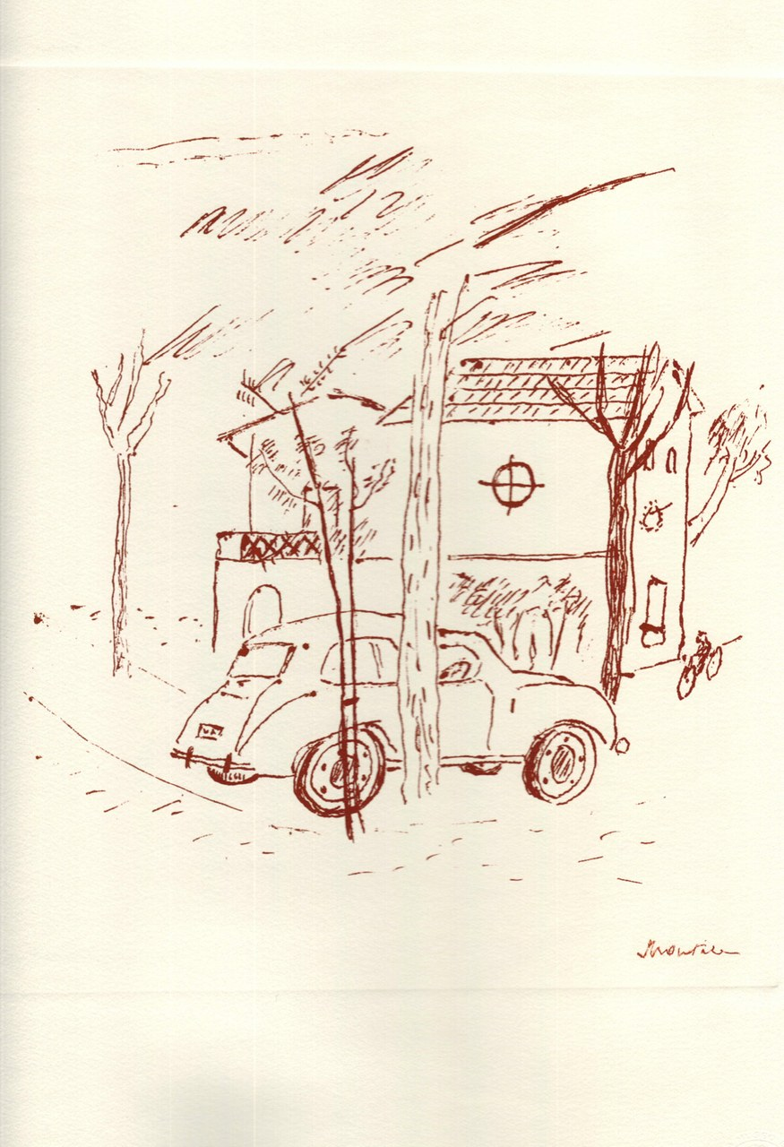 Disegno di Montale tirato in sanguigna nel 1976 b