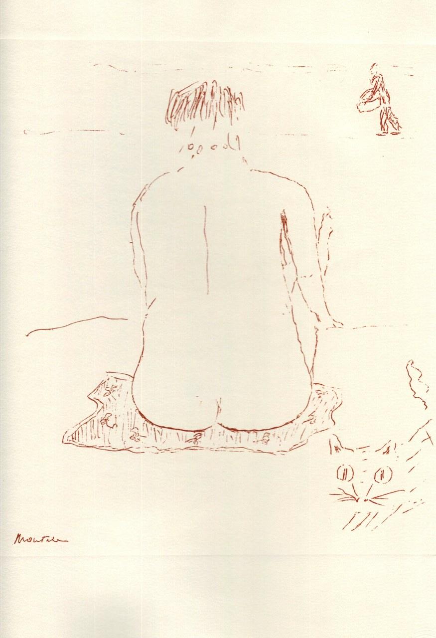 Disegno di Montale tirato in sanguigna nel 1976 c