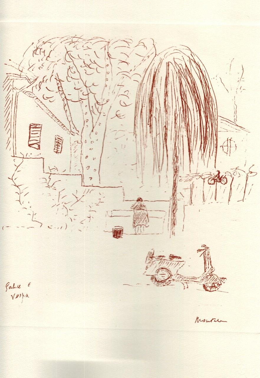 Disegno di Montale tirato in sanguigna nel 1976 d