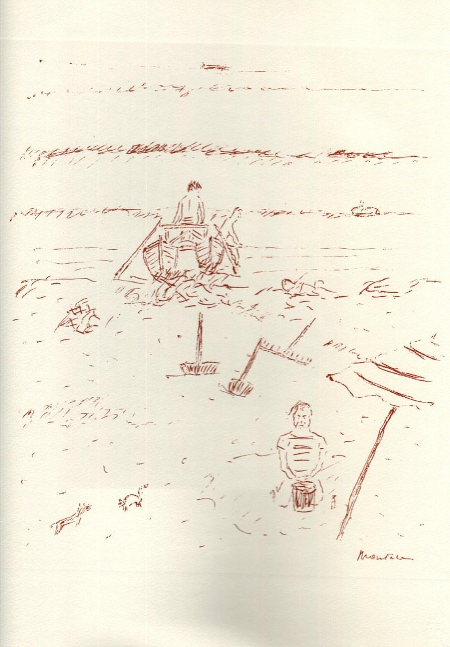 Disegno di Montale tirato in sanguigna nel 1976 e