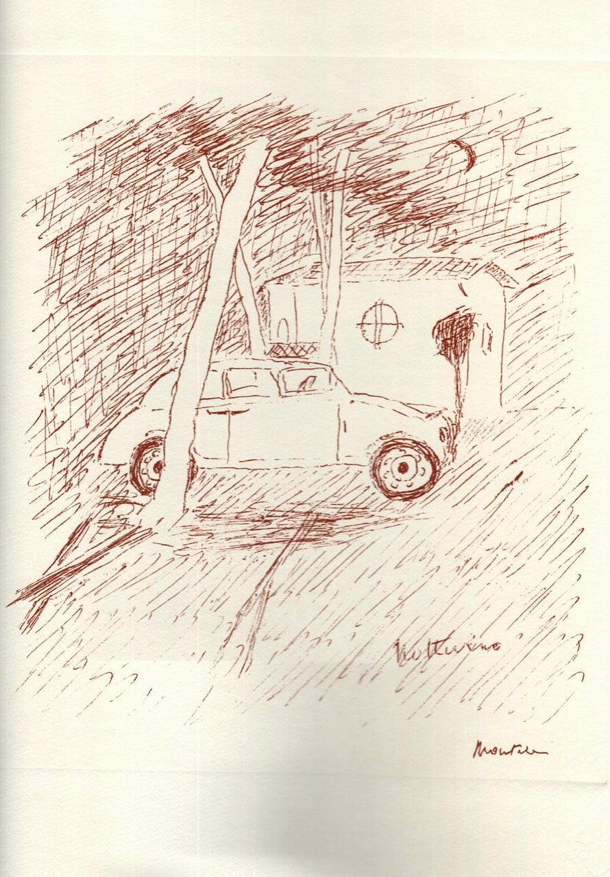 Disegno di Montale tirato in sanguigna nel 1976 f