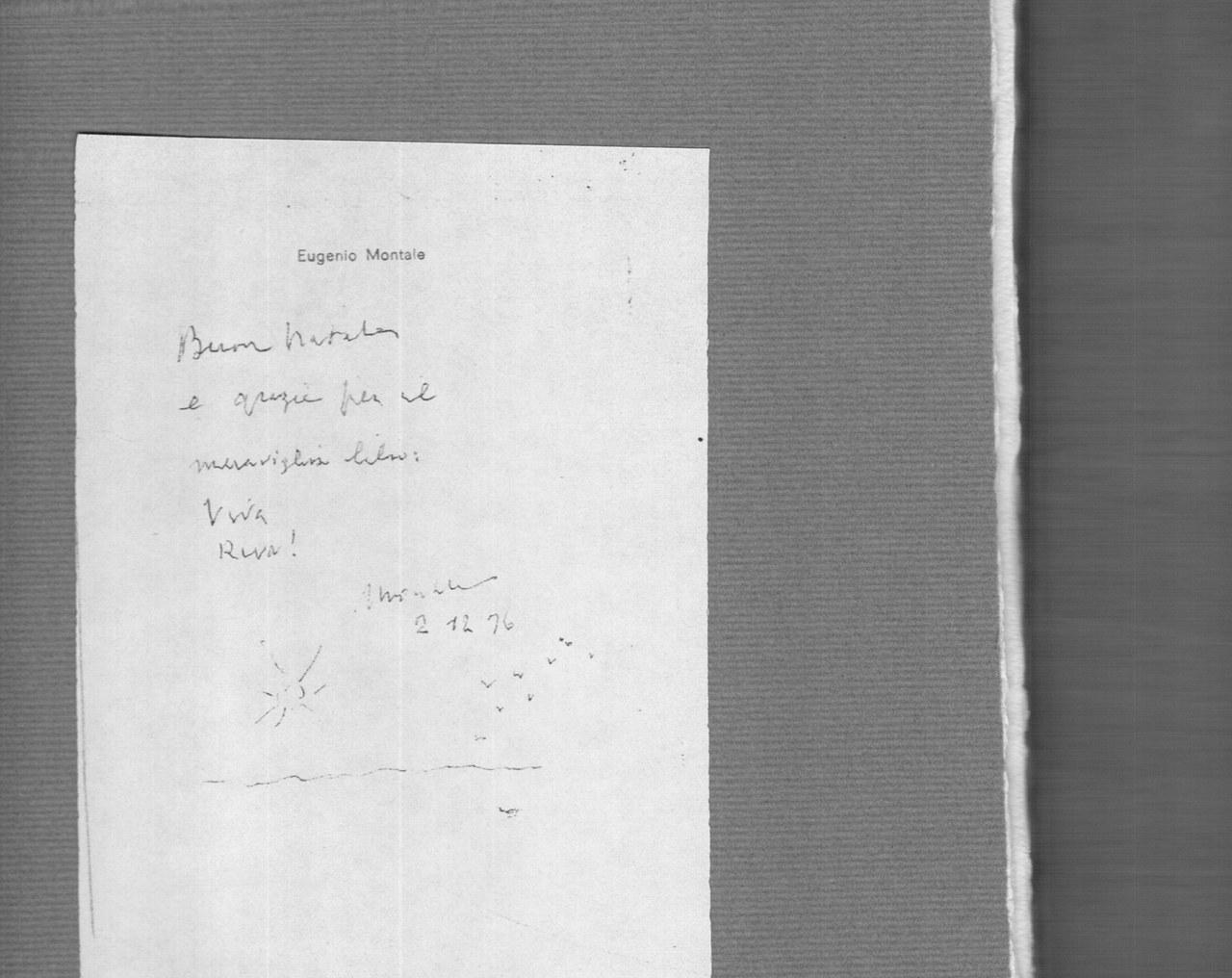 Foglietto di dedica autografo conservato nella copia del libro inpossesso del Museo Bodoniano di Parma