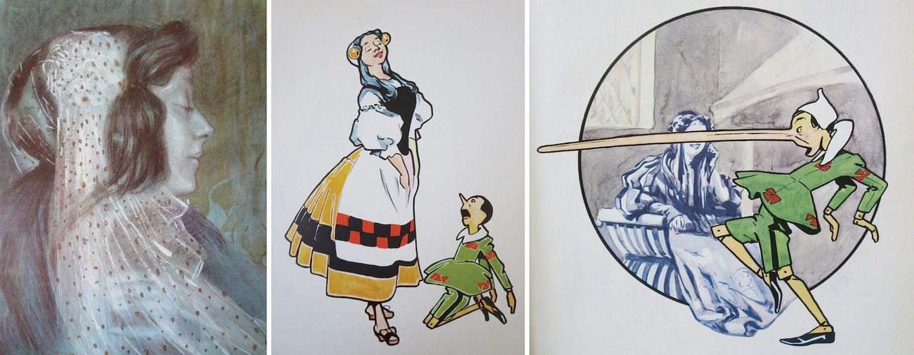 Fig. 3a. Attilio Mussino, La bella Bambina si affaccia alla finestra. Fig. 3b. Attilio Mussino, Pinocchio riconosce la Fata nella buona donna Fig. 3c. Attilio Mussino, Pinocchio dice una bugia e per castigo gli cresce il naso