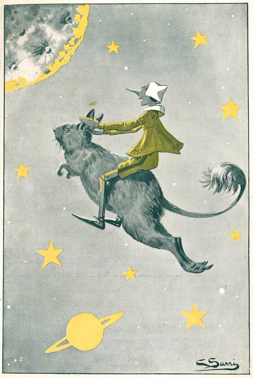 Fig. 1. Corrado Sarri, Arrivo di Pinocchio nella luna, in Tommaso Catani, Pinocchio nella luna, Firenze, Bemporad & Figlio, 1924