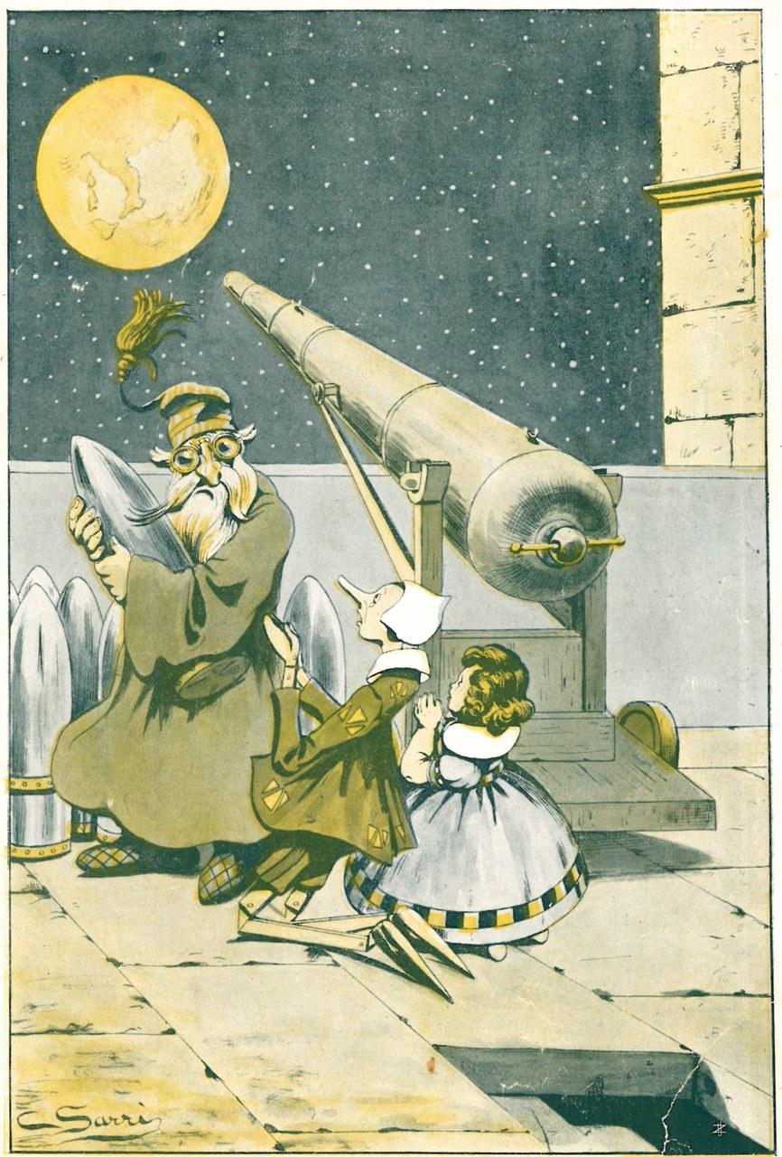 Fig. 2. Corrado Sarri, Il burattino, fuori di sé dallo spavento…, in Tommaso Catani, Pinocchio nella luna, Firenze, Bemporad & Figlio, 1924