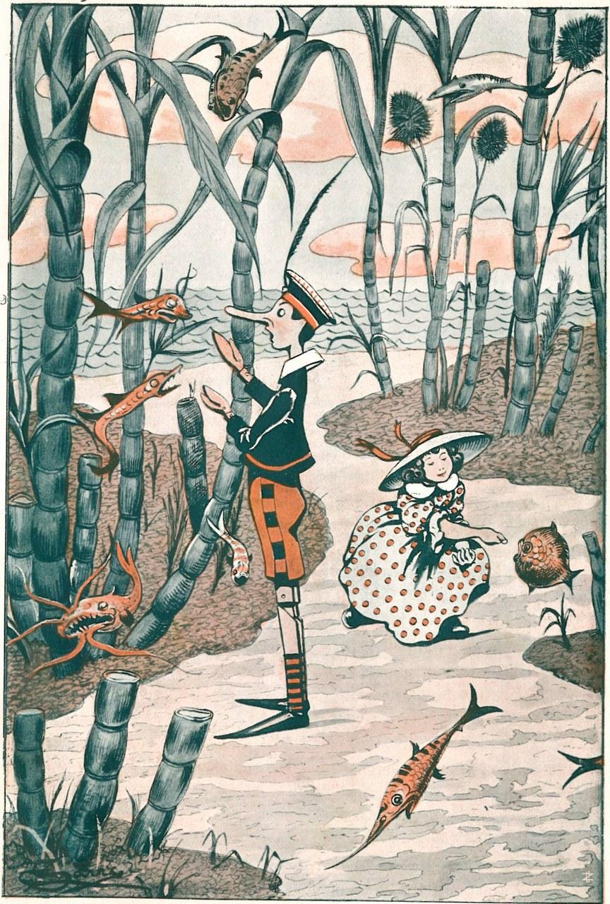 Fig. 3. Corrado Sarri, Anche Pinocchio aveva i suoi pesciolini favoriti..., in Tommaso Catani, Pinocchio nella luna, Firenze, Bemporad & Figlio, 1924