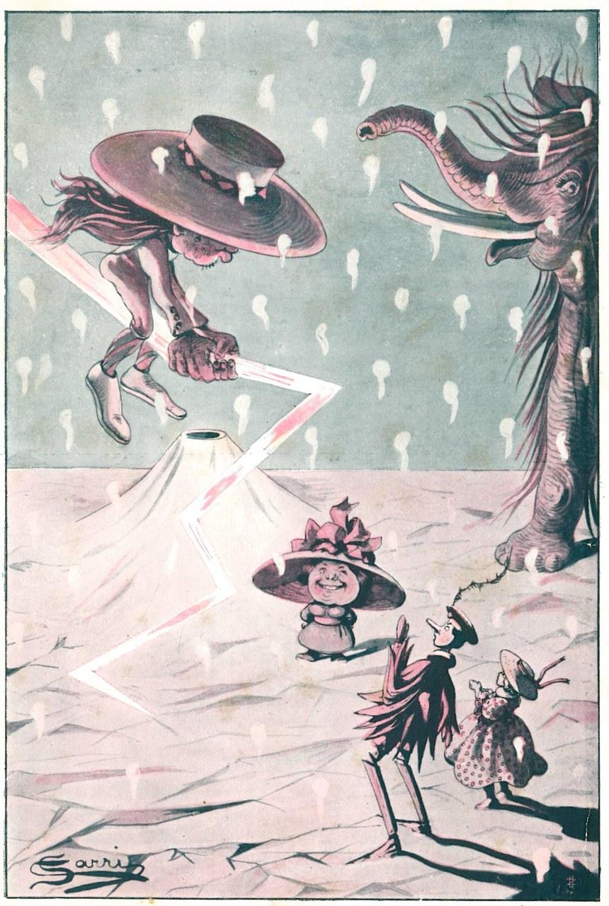 Fig. 4. Corrado Sarri, Dopo un poco lo videro ricomparire..., in Tommaso Catani, Pinocchio nella luna, Firenze, Bemporad & Figlio, 1924