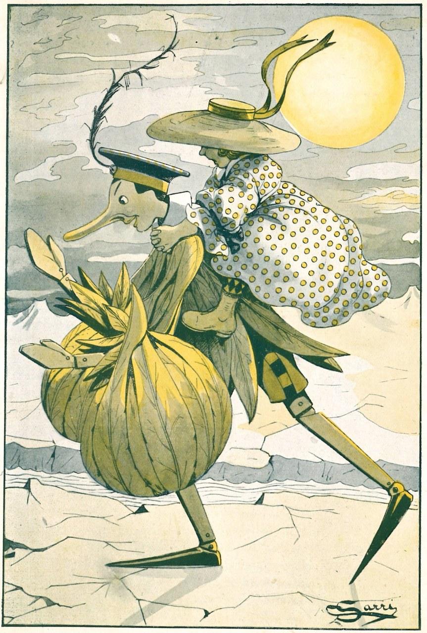 Fig. 5. Corrado Sarri, Pinocchio procedeva svelto lungo le sue rive gelate, in Tommaso Catani, Pinocchio nella luna, Firenze, Bemporad & Figlio, 1924