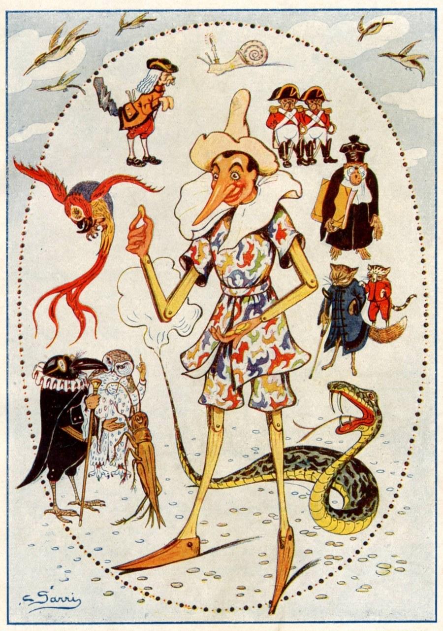 Fig. 6. Corrado Sarri, Pinocchio ed i personaggi del Libro, in Carlo Collodi, Le avventure di Pinocchio. Storia di un burattino, Sancasciano Val di Pesa (Firenze), Società Editrice Toscana, [1923]