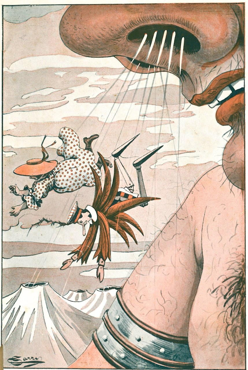 Fig. 8. Corrado Sarri, …un furioso temporale li lanciò..., in Tommaso Catani, Pinocchio nella luna, Firenze, Bemporad & Figlio, 1924