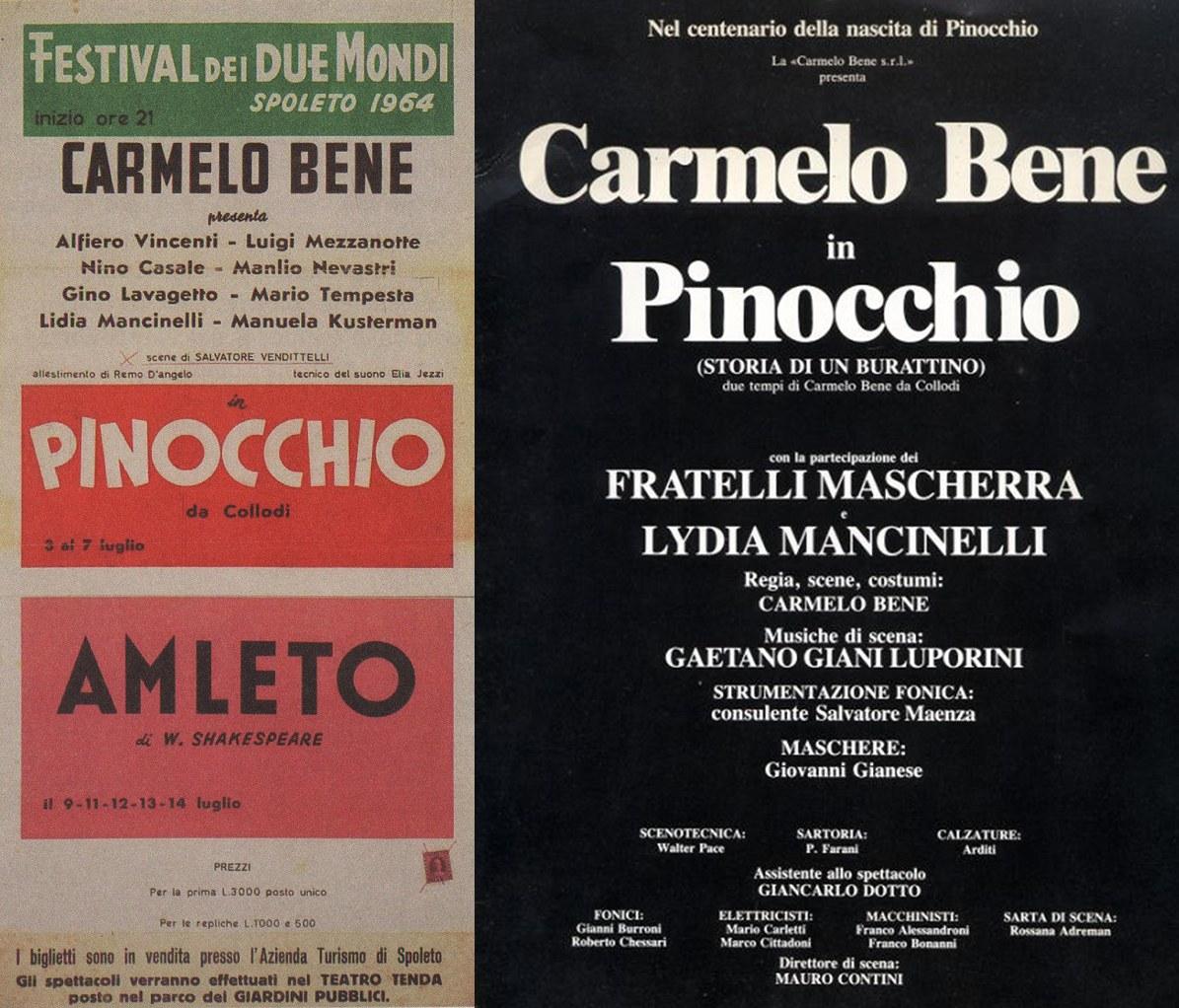 Fig. 1.Carmelo Bene, Pinocchio, 1964,Locandina -Carmelo Bene, Pinocchio, 1981, Locandina