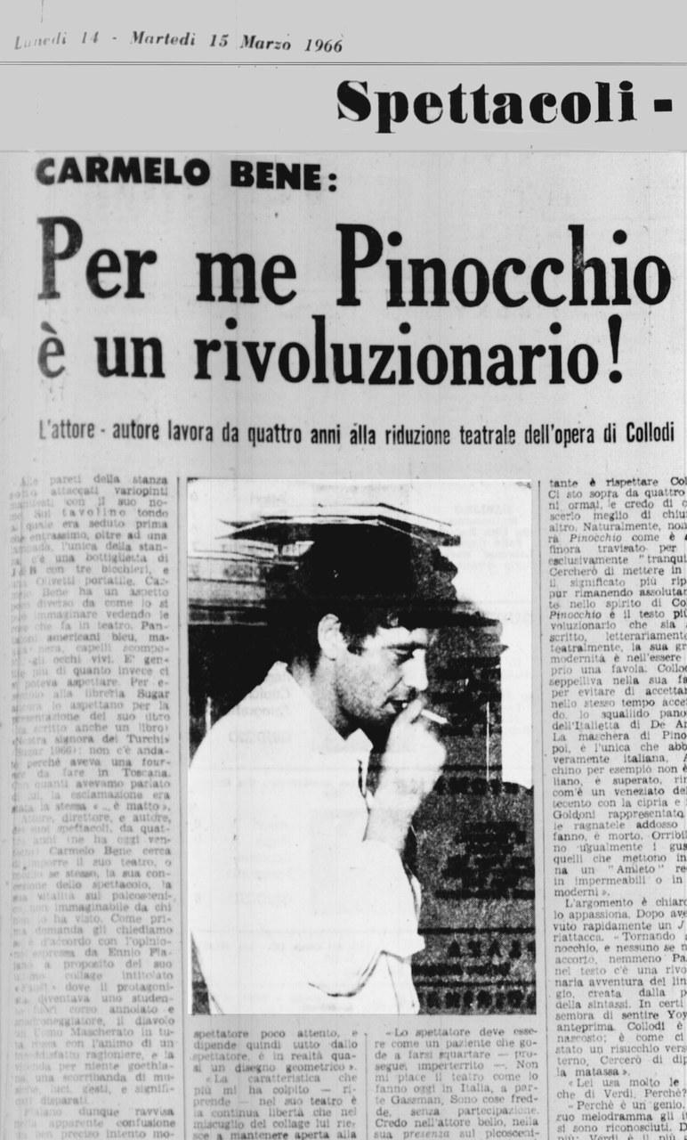 Fig. 2. Stralcio da F. Pisa, 'Per me Pinocchio è un rivoluzionario',Momento Sera, 14-15 marzo 1966