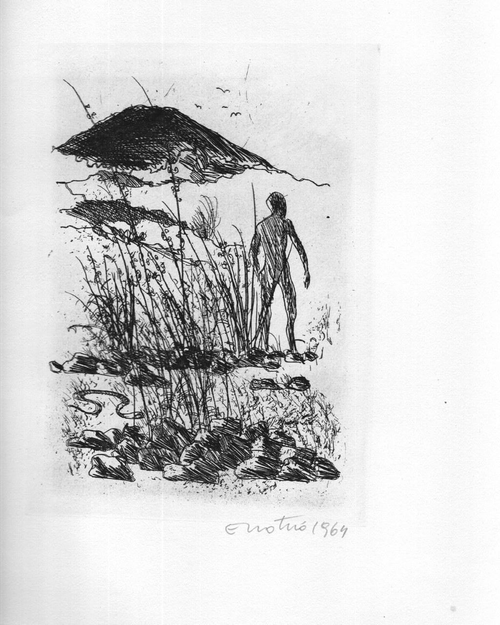 Acquaforte di Enotrio Pugliese per Leopardi, 1963 b