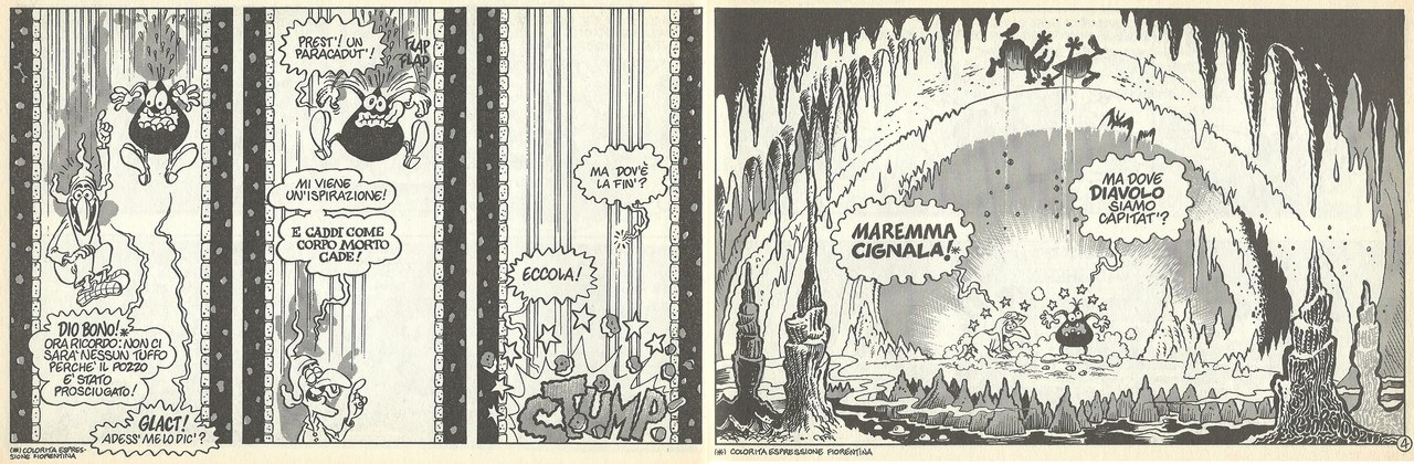 Moreno Burattini, Giorgio Sommacal,La cadutaall'inferno, inUn'avventura infernale, 1992, tavv. 7-8