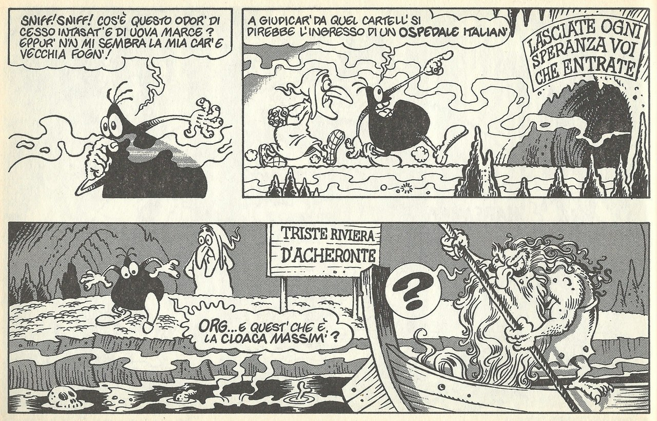 Moreno Burattini, Giorgio Sommacal,L'ingresso all'inferno di Cattivik, inUn'avventura infernale, 1992, tav. 9