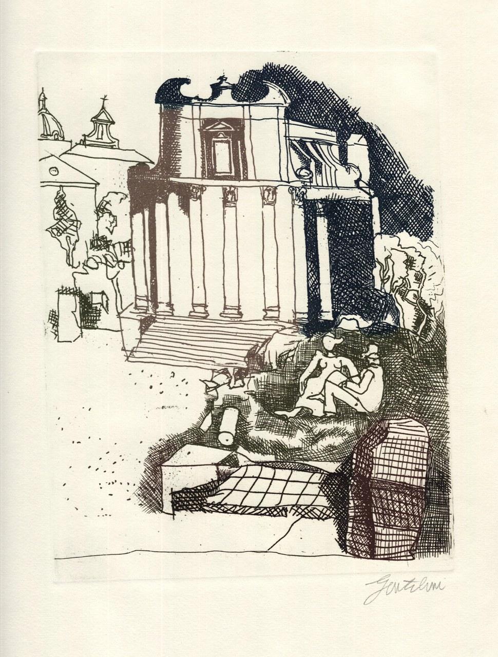 Acquaforte a colori di Gentilini per De Libero, 1971 a