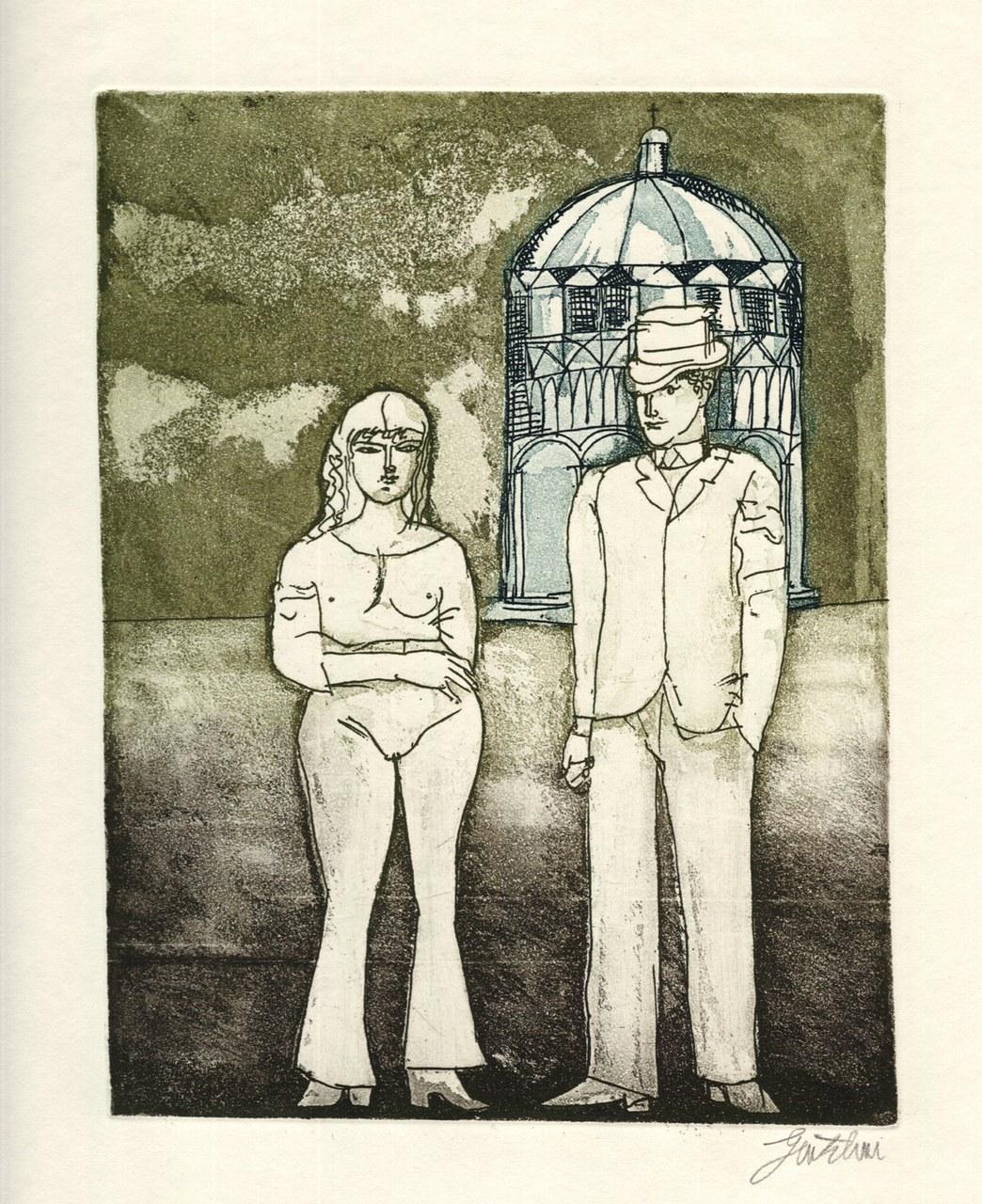 Acquaforte a colori di Gentilini per De Libero, 1971 c