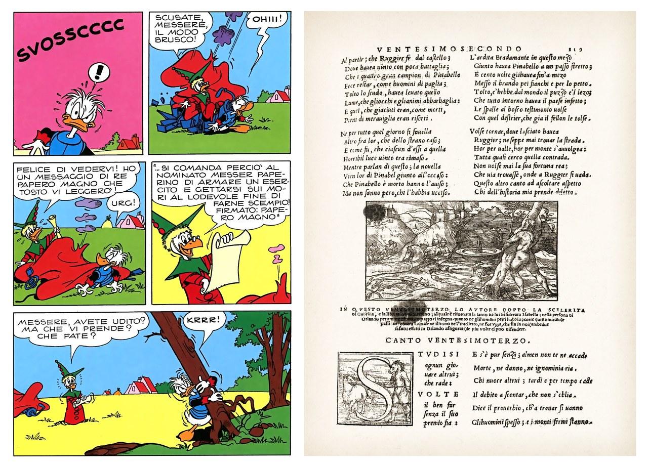 Luciano Bottaro,Paperino sradica un pino, china su carta e colore,1966,tav. 44 (a fianco Orlando furioso, Venezia, Giolito, 1542, xilografia, canto XXIII)
