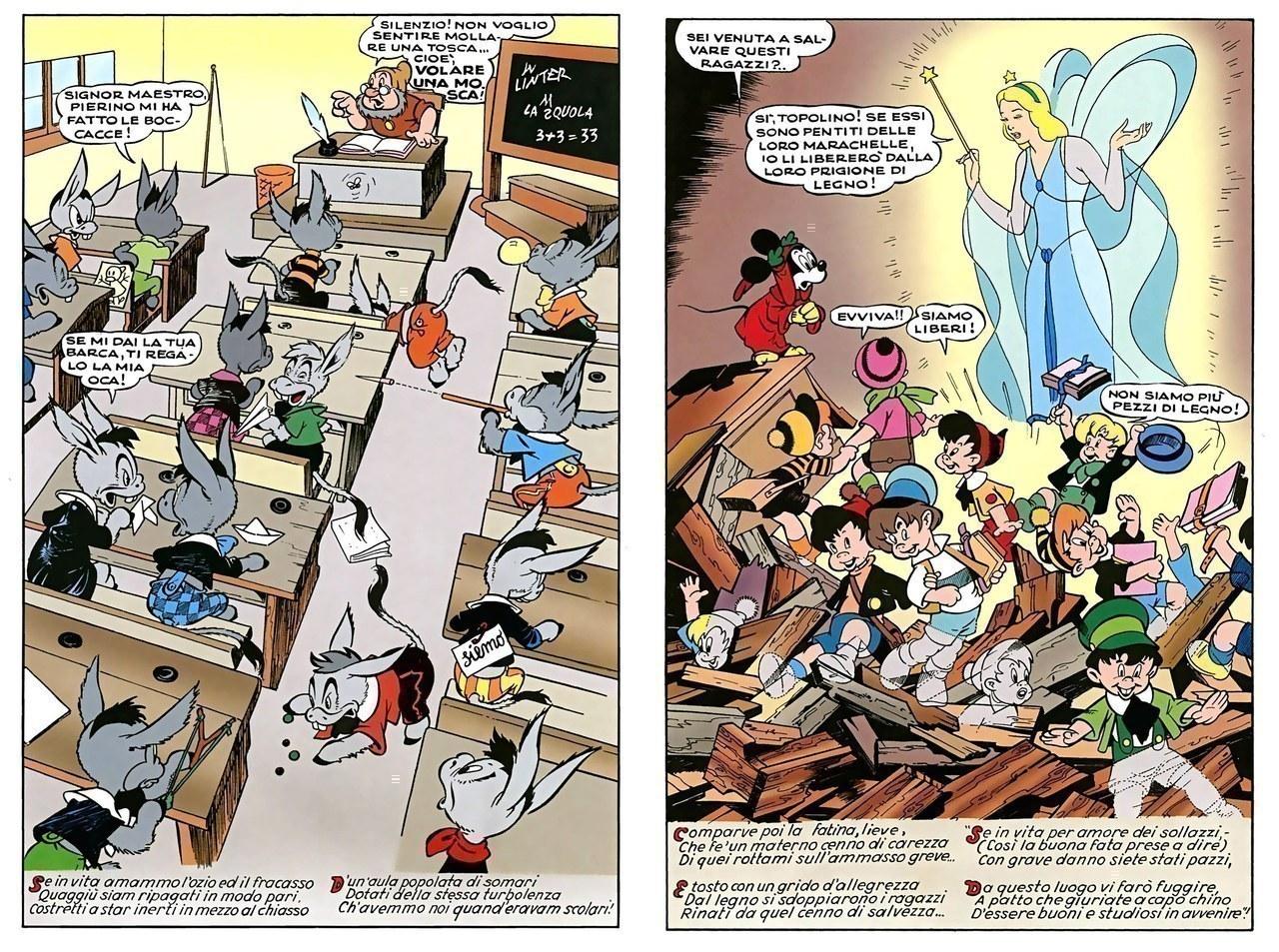 Guido Martina, Angelo Bioletto, I violenti contro i banchi di scuola, china su carta e colore, 1949-1950, tavv. 43 e 46