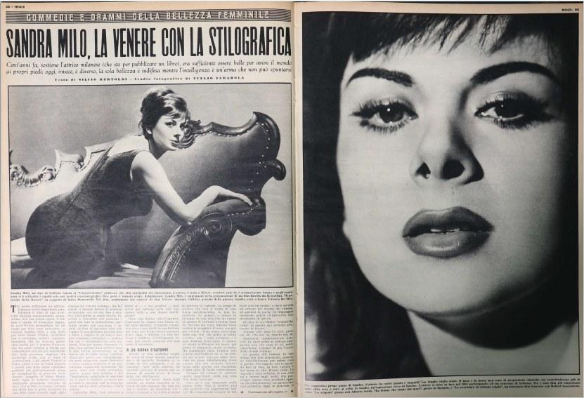 Fig. 4 Silvio Bertoldi, 'Sandra Milo. La Venere con la stilografica', Oggi, XV, 27, 2 luglio 1959, pp. 22-23