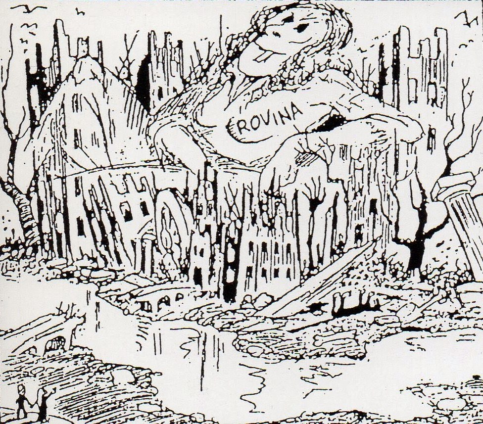 Benito Jacovitti,La rovina in commedia, china su carta, 1947, tav. 1, particolare