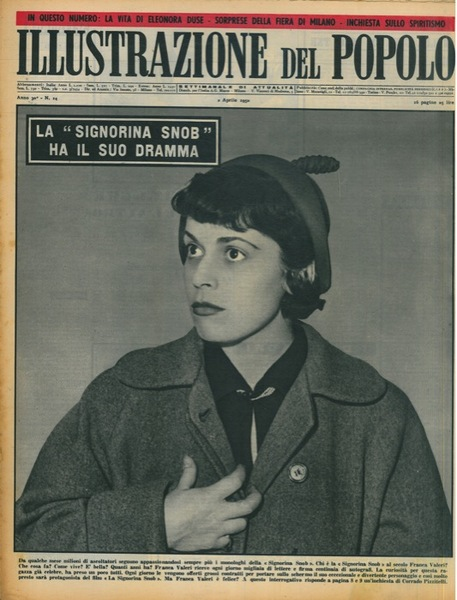 Fig. 1 Franca Valeri come Signorina Snob nella copertina de L'illustrazione del popolo, supplemento settimanale de La gazzetta del popolo, 2 aprile 1950