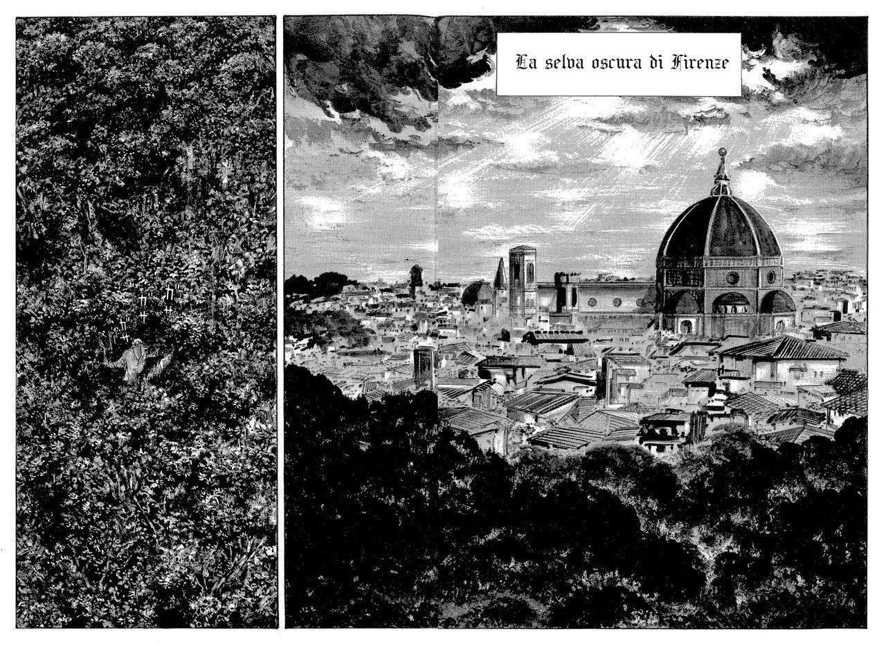 Go Nagai, Dante si smarrisce nella selva, nei pressi di una Firenze poco medievale, 1994,vol. 1, tav. 1