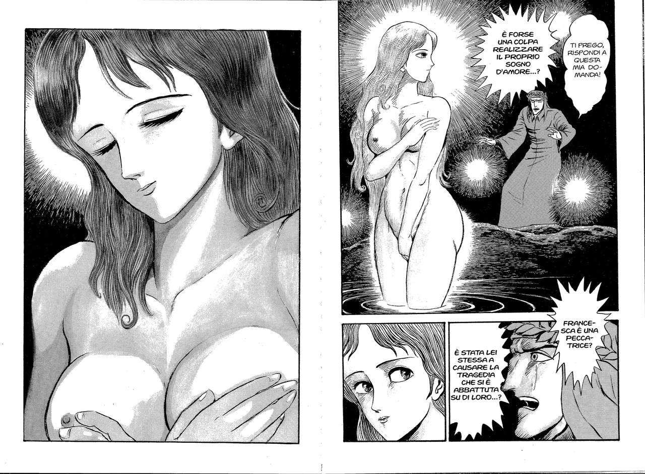 Go Nagai, Dante interroga, in sogno, una sensuale Beatrice sul significato dell'amore, 1994,vol. 1, tavv. 104-105