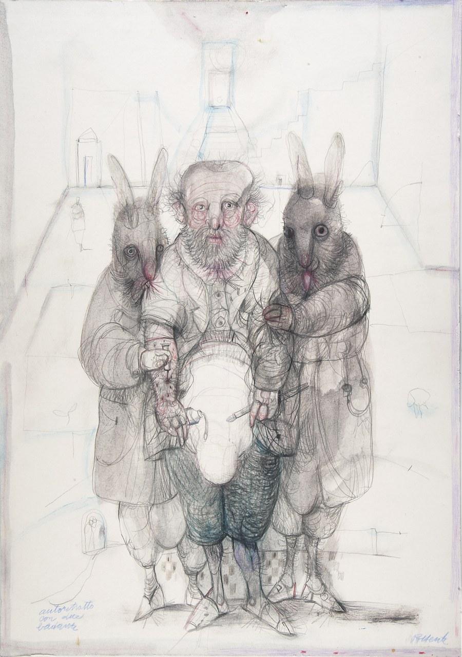 Antonio Possenti, Autoritratto con due badanti, 2012, collezione privata