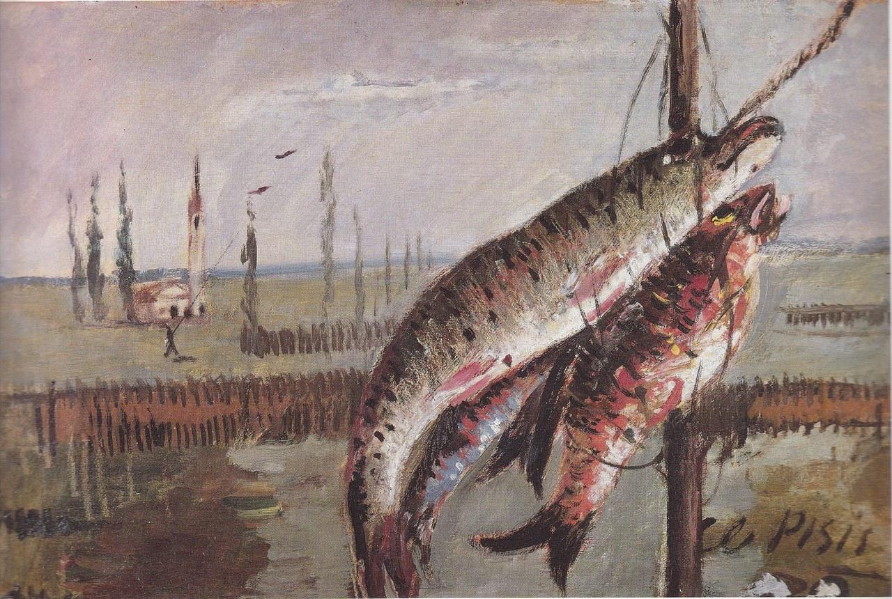 Filippo de Pisis, Natura morta col luccio, o Pesci nel paesaggio di Pomposa, 1928