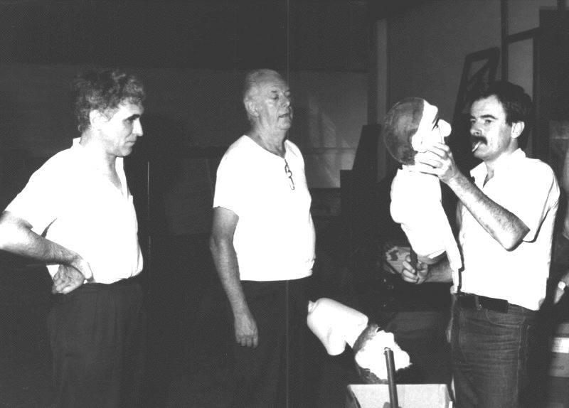 Franco Quadri, Dario Fo e Sergio Martin, mostra Teatro dell'Occhio, Riccione