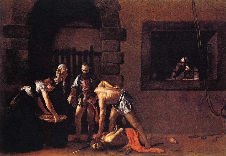 Caravaggio, Decollazione di San Giovanni Battista, olio su tela, 1608
