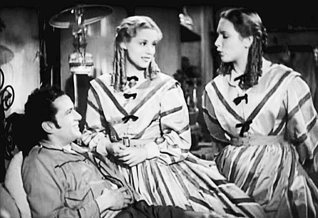 Leonardo Cortese, Maria Mercader e Carla Del Poggio nel film Un garibaldino al convento di Vittorio De Sica, 1942