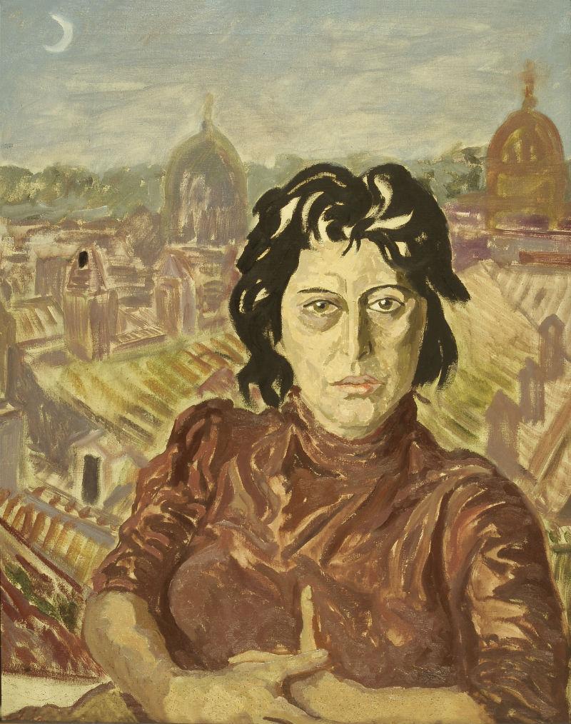 Fig. 4 Ritratto di Anna Magnani sul paesaggio urbano di Roma. Carlo Levi, anni '50