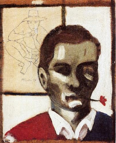 P.P. Pasolini,Autoritratto colfiore in bocca(1947)