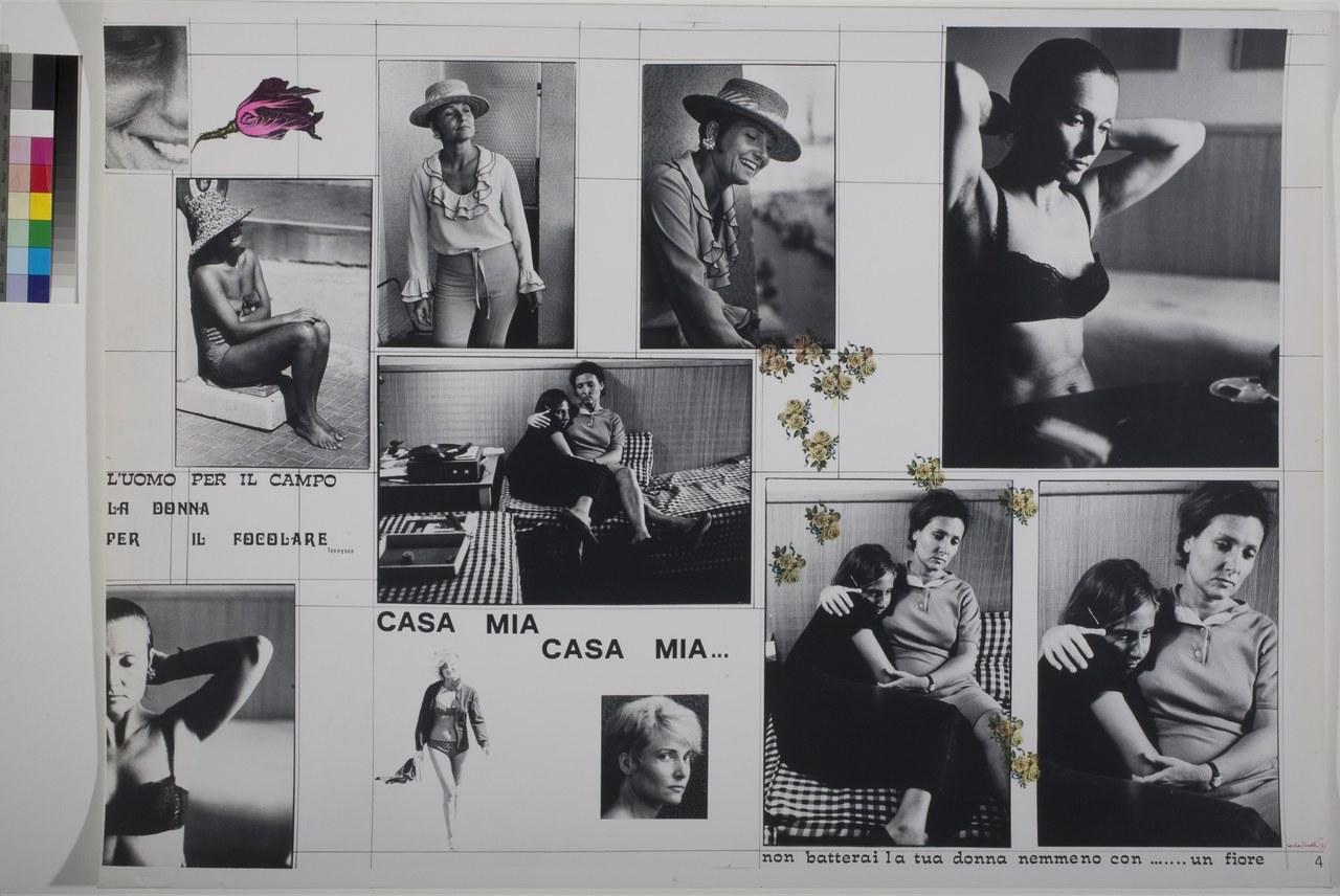 Carla Cerati, L'uomo per il campo, la donna per il focolare..., pannello n. 4, della serie Percorso. Racconto in dieci stazioni, 1977