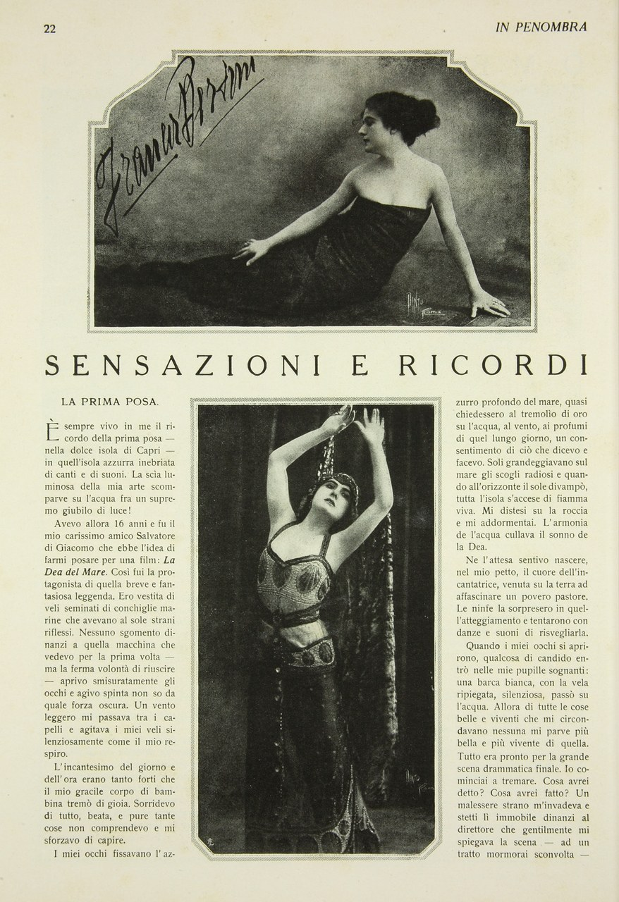 Fig. 3'Sensazioni e ricordi' di Francesca Bertini, in In penombra,1918, 1, pp. 22-25