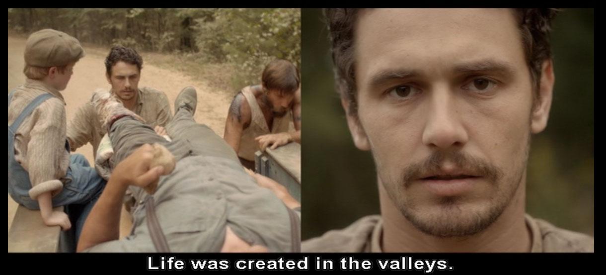 Fotogramma del film As I Lay Dying: si osservi l'azione in corso sulla parte sinistra dello split screen e la rappresentazione del monologo di Darl sulla destra